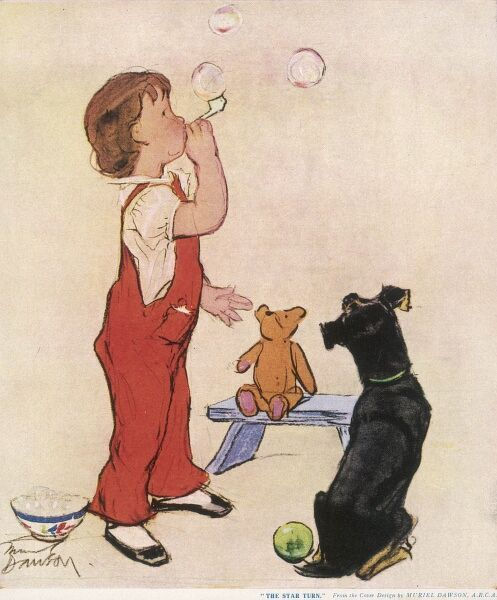 A small child in red dungarees blows bubbles from a bubble pipe watched with interest by a pet dog and a toy teddy bear