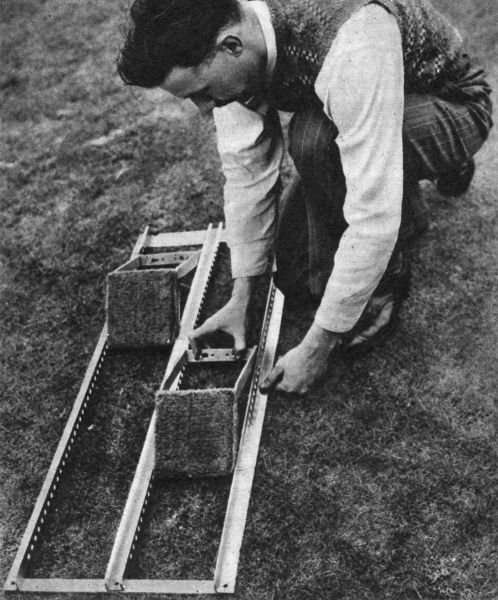 New adjustable, aluminium starting blocks developed by Mr. H. Rottenburg and used at the 1948 Olympic Games in London. Date: 1948