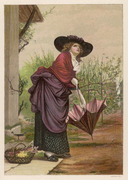 A lady takes a doubting look at the sky before she sets out on a visit with a basket of flowers