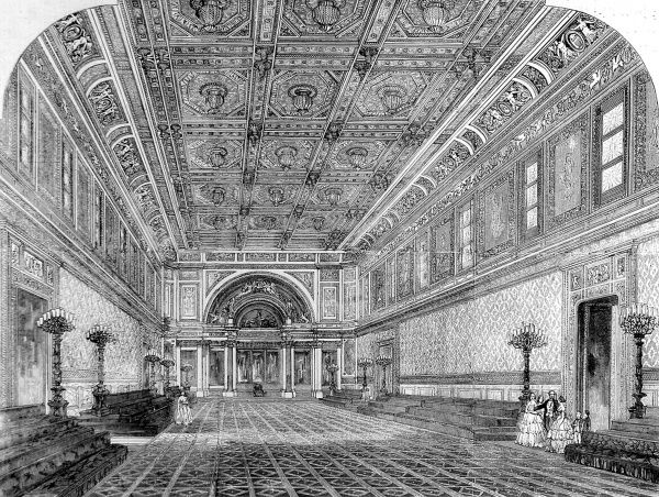 Engraving showing the interior of the then newly built State Ball Room at Buckingham Palace, London, 1856