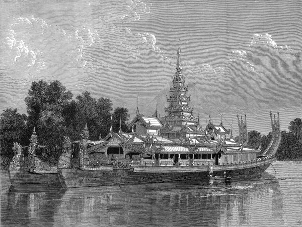 Engraving of the State Barge of the King of Burmah, from The Graphic, 13th March 1875