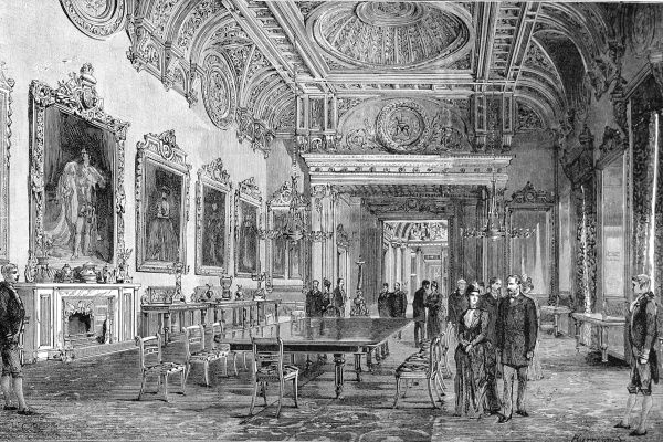 Engraving showing the State Dining Room at Buckingham Palace, London, 1887