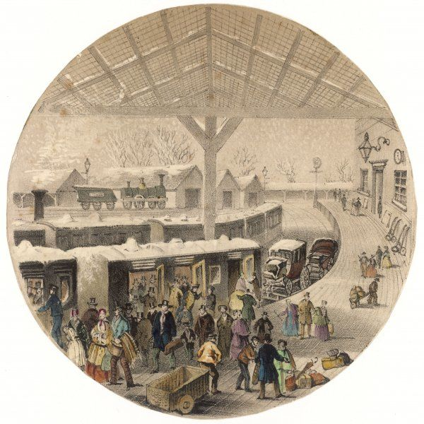 A railway station in winter : passengers crowd into the unheated train. Note the carriages on the flat wagons behind