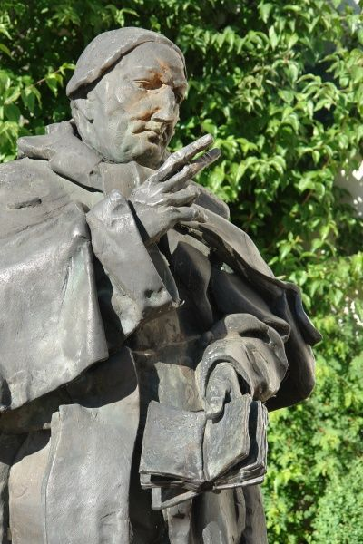 View of the statue to Bishop Johann Michael Sailer (1751-1832), in Dillingen an der Donau, Bavaria, Germany. He rose from humble beginnings to become a Roman Catholic Bishop of Regensburg. He spent time in Dillingen as a professor of pastoral theology