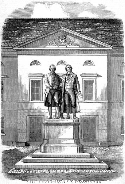 Engraving showing the joint statue of Johann Wolfgang von Goethe (1749-1832) and Friedrich Schiller (1759-1805), the German writers, at Weimar, Germany, 1858