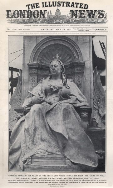 The statue of the late Queen Victoria, the centrepiece of the Queen Victoria Memorial outside Buckingham Palace, sculpted by Sir Thomas Brock and unveiled on 16 May 1911