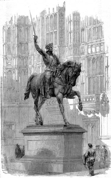 Engraving showing the colossal statue of Richard Coeur de Lion, King Richard I of England, by Baron Marochetti, in the Old Palace Yard, Westminster, 1861