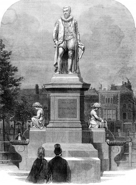 Engraving showing the statue of Sir Hugh Myddelton, sculpted by John Thomas, on Islington Green, North London, 1862