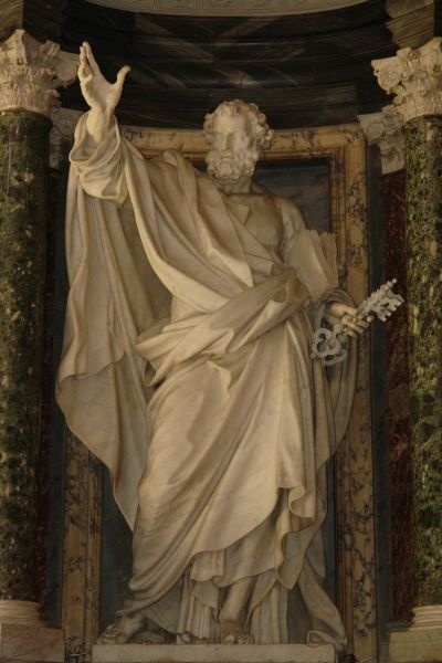 Statue of St Peter in the Basilica di San Giovanni in Laterano (Basilica of St John Lateran) in Rome, Italy. This cathedral is the official ecclesiastical seat of the Bishop of Rome, ie the Pope