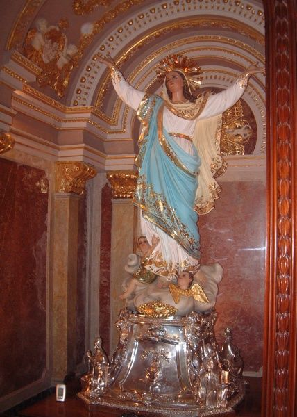 A statue of the Virgin Mary in the cathedral at Victoria (Rabat) on the Island of Gozo, part of the Maltese archipelago