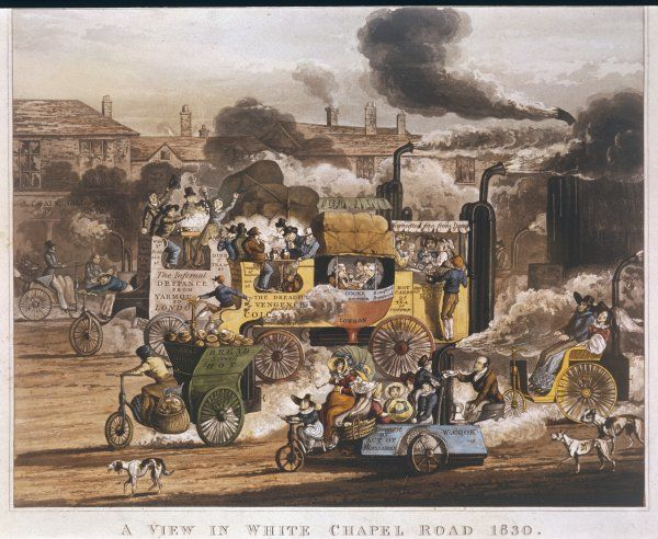 The widespread activity, seeking to harness steam power to road transport, is satirised in this view of the Whitechapel Road where horse drawn vehicles are no more