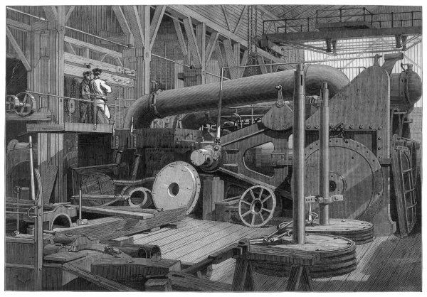 Steam engine, used in the erecting shop, Penn's marine factory, Greenwich, England