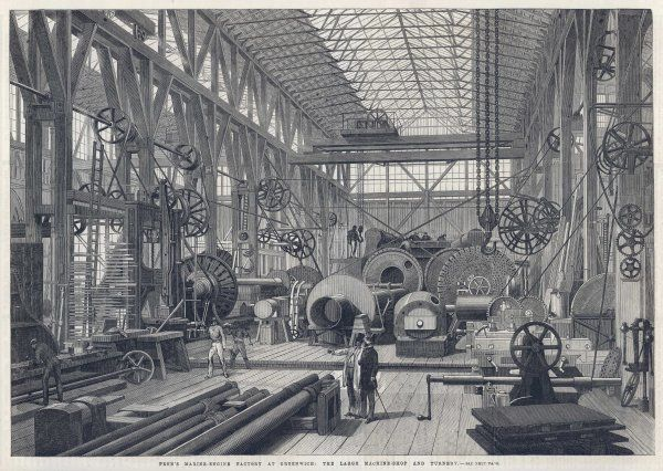 Penn's marine-engine factory at Greenwich: The large machine-shop and turnery