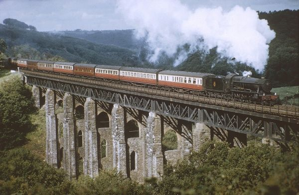 The 'County of Cornwall' steam locomotive, crossing the West Largen Viaduct. Date: 1959