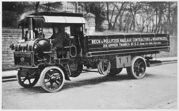 Steam wagon used by Beck and Politzer, haulage contractors and wharfingers : even at this date, steam power is widely used for heavy-duty carriage
