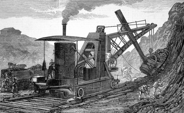 Steam navvy used to make the new dock at Swansea. By the late nineteenth century, chores traditionally done by workmen were being performed by steam engines
