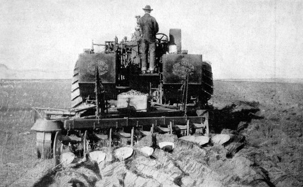 Photograph showing the latest Steam-plough, creating seven furrows at a time, as used in the Arkansas valley, 1907. At this time the valley was being reclaimed by means of irrigation, with the intention of cultivating sugar beet there