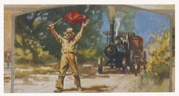 A steam-powered vehicle is preceded by a man with a red flag, to warn everyone of the on-coming monster