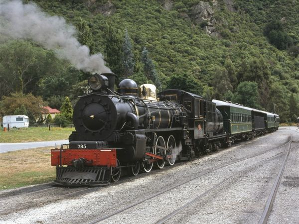 A steam train, the Kingston Flyer, at Kingston, South Island, New Zealand
