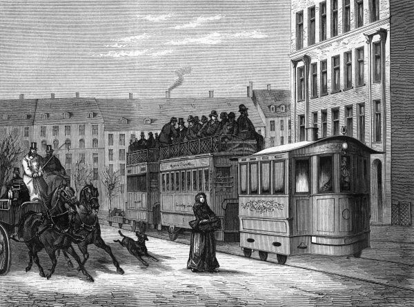 Trial run of a steam tram through the streets of Berlin. Date: 1877