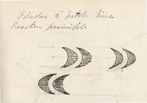 Steam turbine blades from an early sketch by Sir Charles Parsons, 1897 Date: 1897