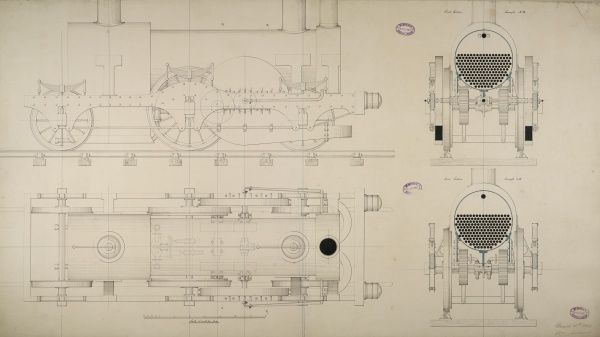 Steam turbine locomotive engine, plan, side elevation and cross section 18 March 1849 Date: 1849