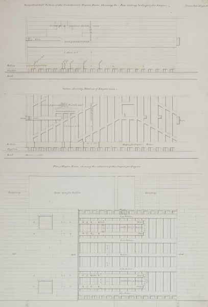 Longitudinal section, section and plan of the steam yacht Caledonia Date: 1817