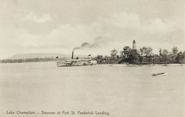 Steamer at St. Frederick Landing, Lake Champlain, New York State, America