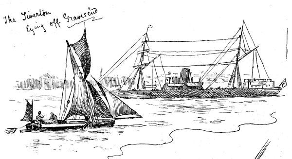 Scene on the River Thames at Gravesend prior to the transatlantic crossing of the emigrant steam ship 'Tiverton', 1884