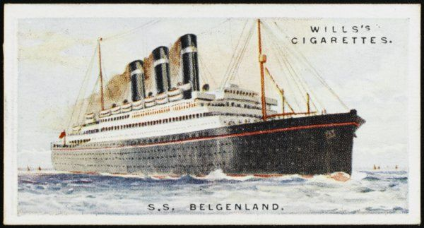 Transatlantic liner of the Red Star Line, offering a photographic dark room as well as a Turkish Bath