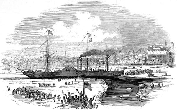 Engraving showing the steamship 'Britannia' steaming through the ice to leave Boston Harbour, USA, 1847