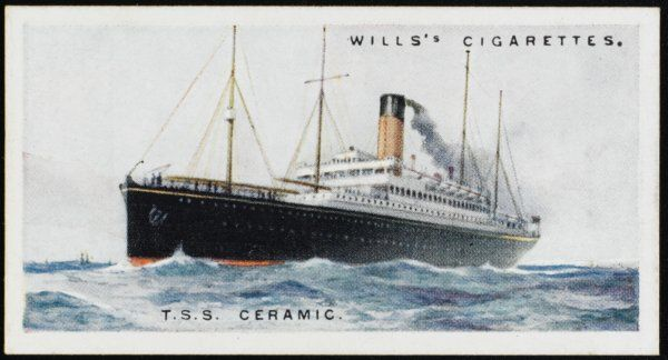 White Star liner on the Atlantic crossing from Liverpool to Australia via the Cape