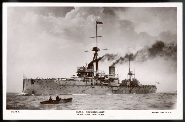 Dreadnough, the Royal Navy battleship which introduced a new era of construction : her 'all big gun' design made all earlier battleships obsolete. She fought in WW1, scrapped 1923