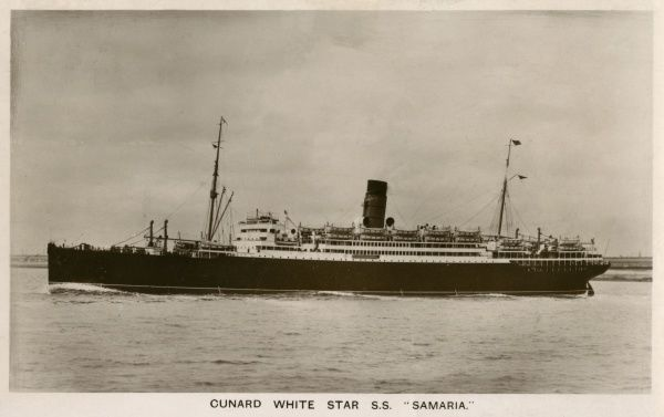 Passenger liner of the Cunard White Star line, employed as a troopship in World War One. Date: circa 1915
