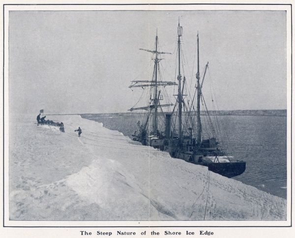 View demonstrating the difficulties of landing during the 1912 expedition to the South Pole