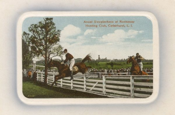 Annual Steeplechase Race at the Rockaway Hunting Club, Cedarhurst, Long Island, New York State, USA. Date: circa 1908