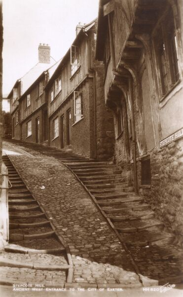 Stepcote Hill - the ancient West Entrance to the City of Exeter, Devon. Date: circa 1930s