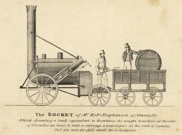 The 'Rocket' as it took part in the Liverpool & Manchester Railway competition (which it won)