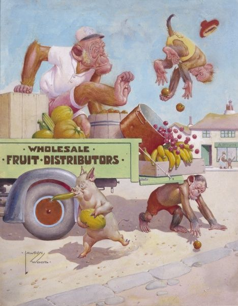 Humorous illustration by Lawson Wood (1878-1957) showing Gran'pop the orang utan working as a delivery driver and dispatching a group of naughty fruit thieves