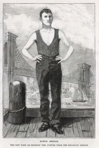 A portrait of Steve Brodie, who performed the feat of jumping off the Brooklyn Bridge