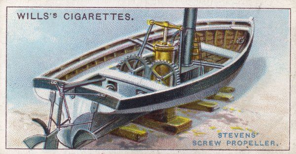 American engineer John Stevens is the first to apply the screw principle to propel a steamboat, though it will be some time before his device replaces the paddle wheel