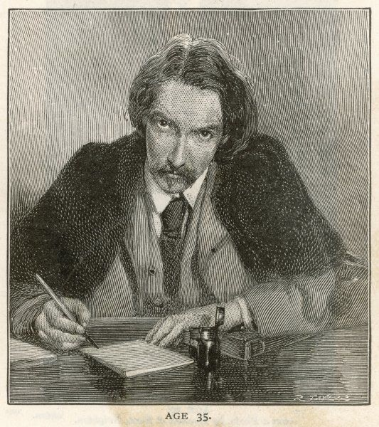 ROBERT LOUIS STEVENSON The Scottish writer and poet at the age of 35, seen writing at his desk