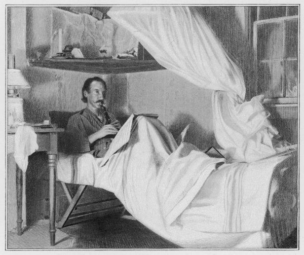 ROBERT LOUIS STEVENSON The Scottish writer and poet playing the flageolet in bed in Vailima