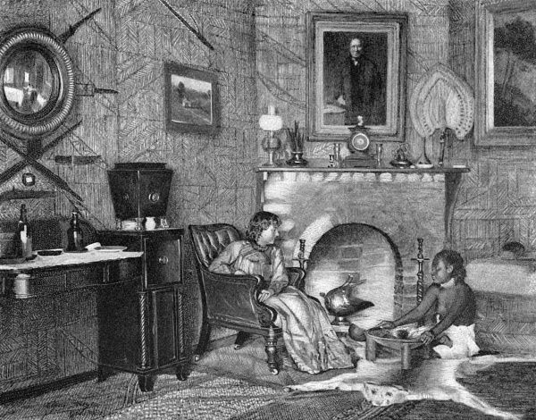ROBERT LOUIS STEVENSON Scottish writer's wife, Fanny, makes ava in the smoking room at Vailima Date: 1850 - 1894