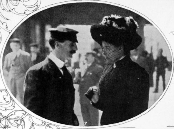 Saved from the Titanic; Mr J. Whitter (steward), and Mrs Robinson (stewardess) following the arrival of survivors in Plymouth