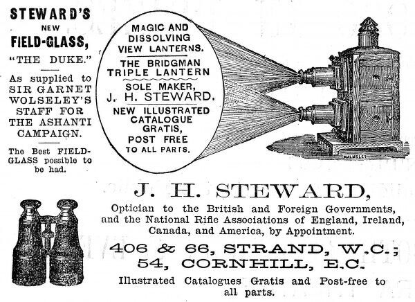 Advertisement for J. H Steward's magic and dissolving lanterns