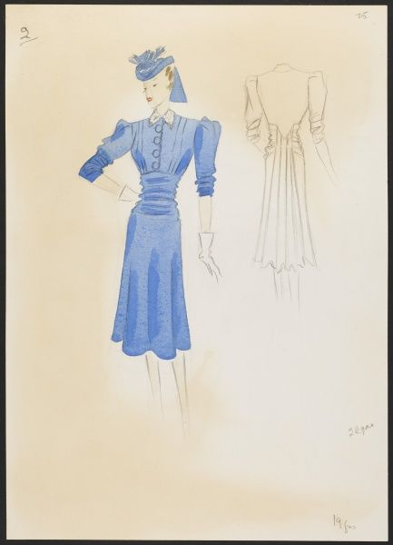 Fashion design by Victor Stiebel (1907-76) for a blue marida crepe dress. Fullness is drawn round back in slight bustle. Dress set off by white guipure lace collar