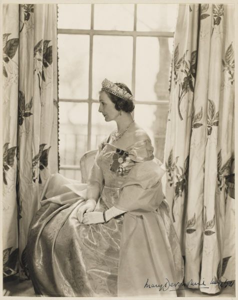 Mary, Duchess of Devonshire photographed in ceremonial robes designed by fashion couturier Victor Stiebel