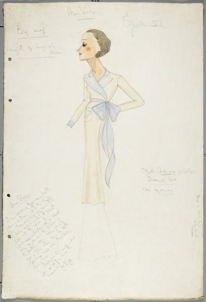 Design by Victor Stiebel, with accompanying notes for an oyster corduroy velvet dressing coat over pyjamas, designed for Miss Vines in an unspecified stage play