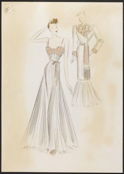 Fashion design by Victor Stiebel (1907-76) for a white chiffon night dress with small appliqued ecru lace bodice & full sun ray pleat skirt. Matching gown, quilted revers